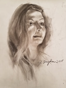 "Original Charcoal Drawing, ""Joanna"", 18""x24"" unframed"