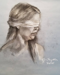 Untitled, Charcoal and Chalk on gray paper