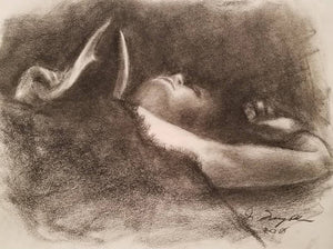 """Woman Holding an Antler"", Charcoal on newsprint"