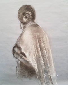 """Woman with Lace Shawl"", Charcoal and chalk on gray paper"