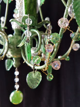 "Petite Chandelier Lighting, Woodland Fairy, Crystal Berries and Leaves, 16""h. x 14""w."