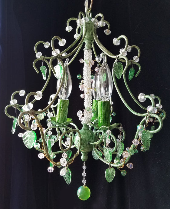 Petite Chandelier Lighting, Woodland Fairy, Crystal Berries and Leaves, 16