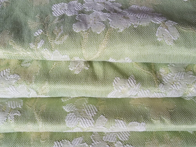 Vintage Blackout Curtains, Light Green Floral Brocade, 26