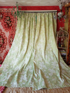 "Vintage Blackout Curtains, Light Green Floral Brocade, 26""w. at top x 39""w. at bottom x 82""l. with 2"" hem"