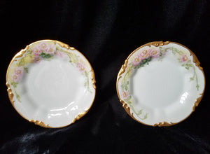 RARE Antique J.P. Limoges Embossed Hand Painted Appetizer Plates, Mint, c. pre-1932