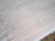 "Cotton Matelasse Bedspread, Pink and White, Full/Queen, 96"" w. x 104"" l."