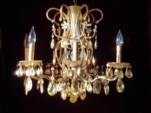 "King Midas Chandelier, Gilt Brass and Crystal, 20""h. x 25""w."