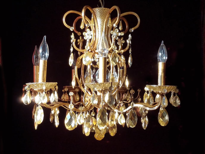 King Midas Chandelier, Gilt Brass and Crystal, 20