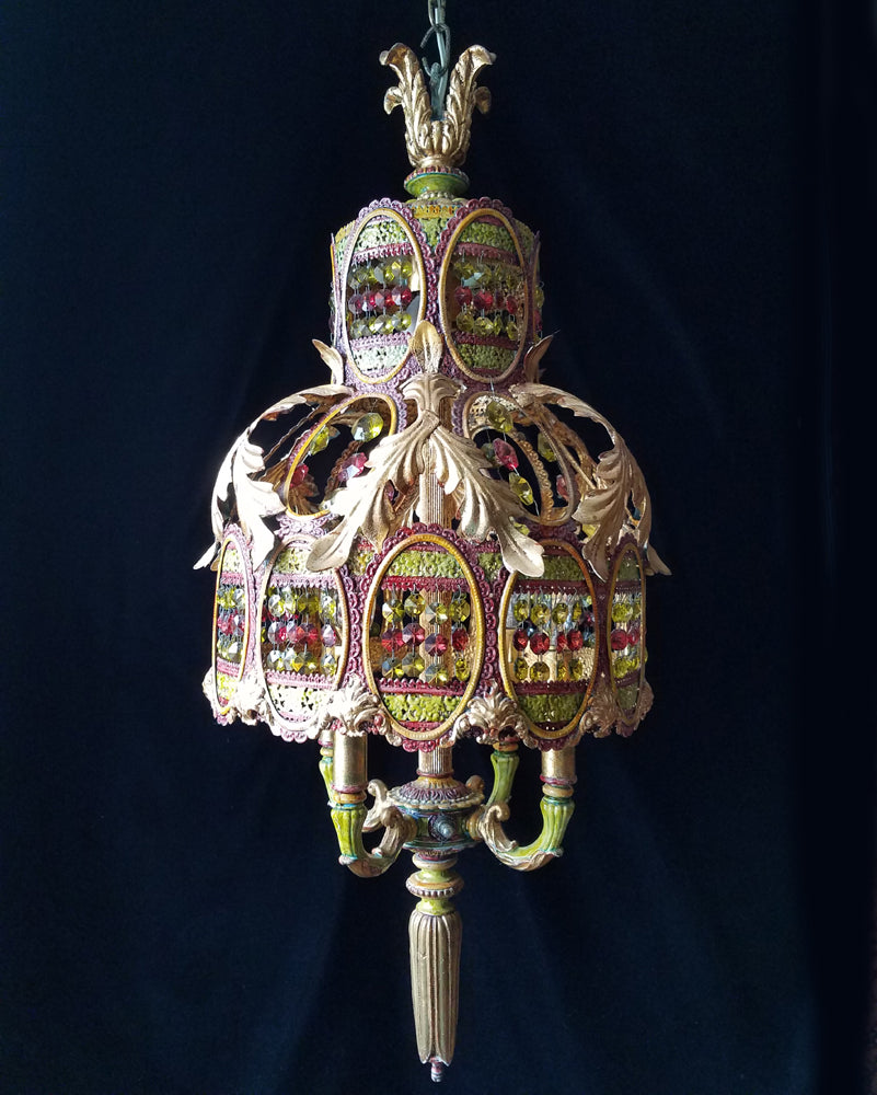 Moroccan Chandelier Lighting, Gold Gilt, Painted Brass Filigree and Crystal, 13