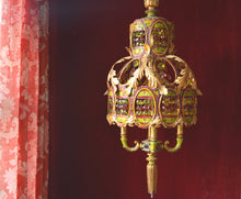 "Moroccan Chandelier Lighting, Gold Gilt, Painted Brass Filigree and Crystal, 13""w. x 33""h."