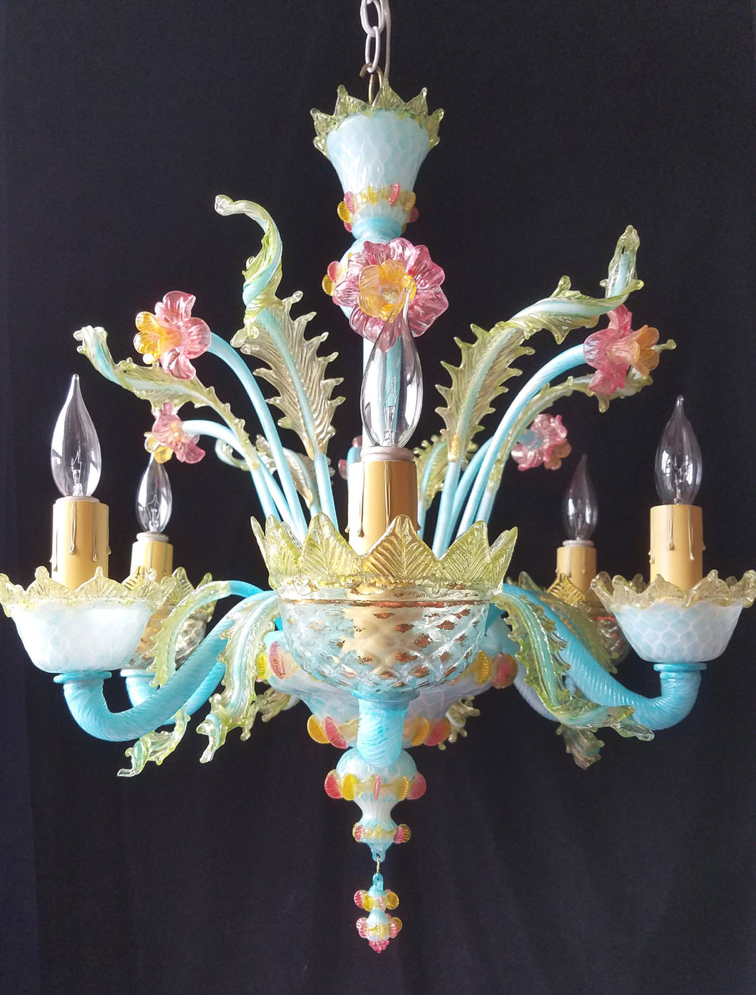 Vintage Murano Chandelier, Hand Colored with 24 Carat Gold Flecks, 25