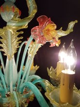 "Vintage Murano Chandelier, Hand Colored with 24 Carat Gold Flecks, 25""h. x 22""w."