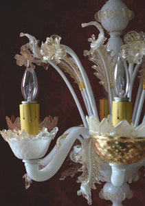 "Vintage Murano Chandelier, White with 24 Carat Gold Flecks, 25""h. x 22""w."
