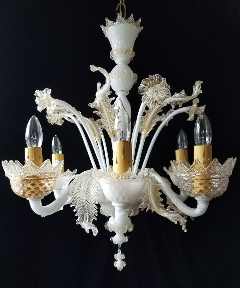 Vintage Murano Chandelier, White with 24 Carat Gold Flecks, 25