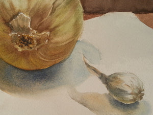 "Still Life with Onions, Original Watercolor, 9""w. x 12""h."