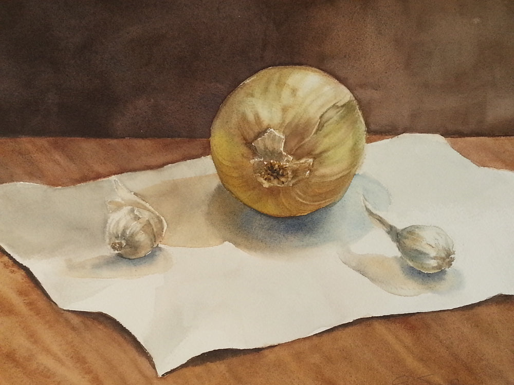 Still Life with Onions, Original Watercolor, 9