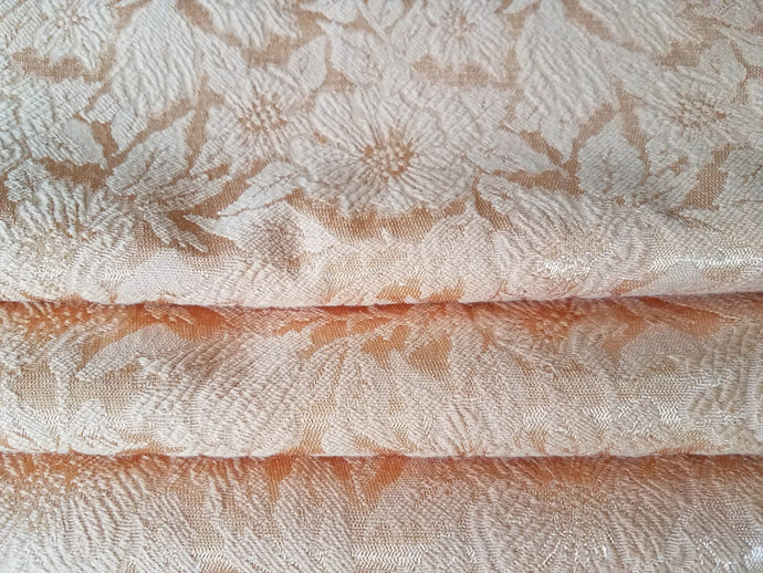 Vintage Brocade Curtains, Peach, 1940s, Extra Long and Wide, 94
