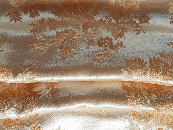 Satin Damask Curtains, Shimmery Peach on Champagne, 1940s, 20