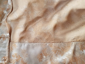 "Satin Damask Curtains, Shimmery Peach on Champagne, 1940s, 20""w. at top x 39""w. at bottom x 65"" l., Two Pairs Available"