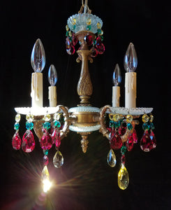 "Chrystal Bohemian Chandelier, Antique Brass and Crystal, 16""x 16"""