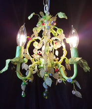 "Beaded Chandelier Lighting, Petite with Crystal beads and Leaves, 10""w. x 13.5""h."
