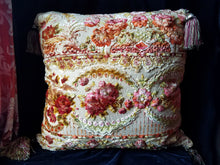 "Italian Velvet Pillow, Hand Sewn from Vintage Printed Velvet and Silk Damask, Reversible, 27"" Square"