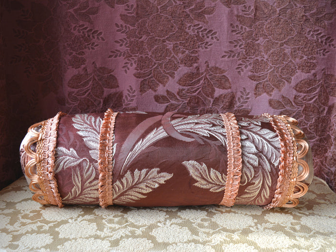 Vintage Decorative Pillow, Satin Brocade, Hand Stitched and Appliqued, 23