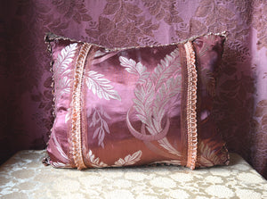"Decorative Throw Pillow, Reversible, Hand Stitched and Appliqued from Vintage Textiles and Trims, 23""w. x 18"" h."