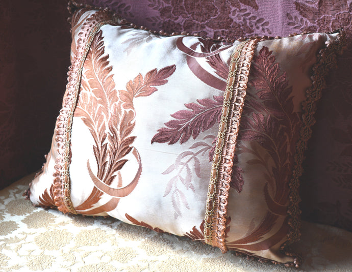 Decorative Throw Pillow, Reversible, Hand Stitched and Appliqued from Vintage Textiles and Trims, 23