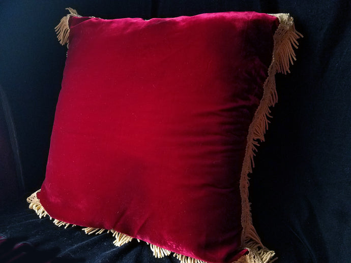 Italian Velvet Pillow, Hand Sewn from Vintage Printed and Red Velvet, Reversible, 24