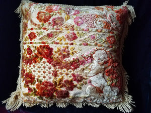 "Italian Velvet Pillow, Hand Sewn from Vintage Printed and Red Velvet, Reversible, 24"" Square"