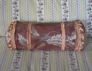 "Vintage Decorative Pillow, Satin Brocade, Hand Stitched and Appliqued, 23""l. x 10""h."