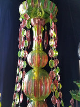 "Pink and Green Cut Crystal Bohemian Chandelier, One of a Kind, 25""h. x 24""w."