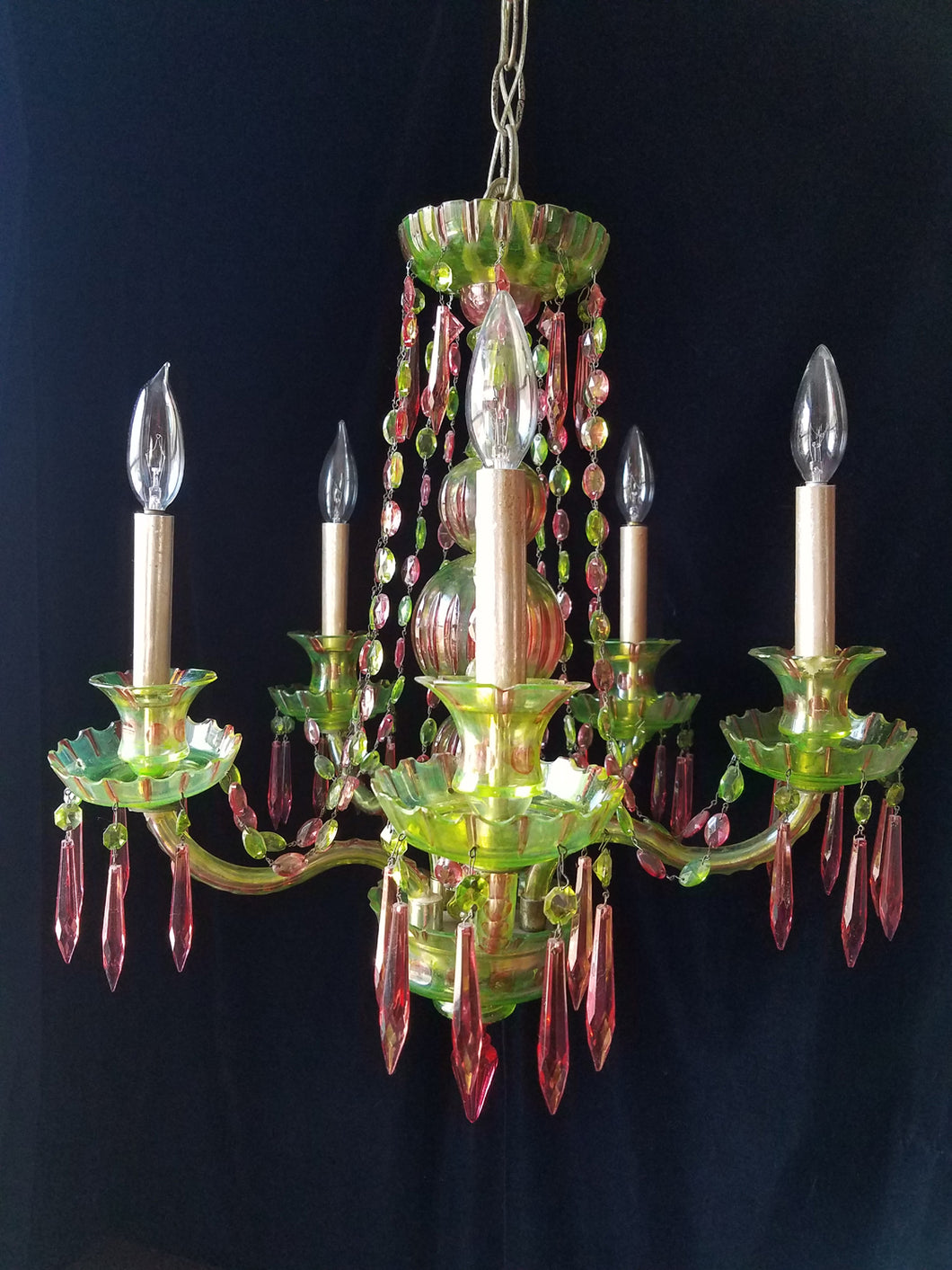 Pink and Green Cut Crystal Bohemian Chandelier, One of a Kind, 25