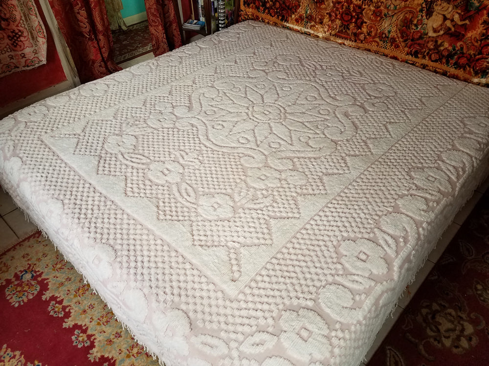 Vintage Chenille Bedspread, Cotton, Classic Pink and White, Excellent Condition, 105