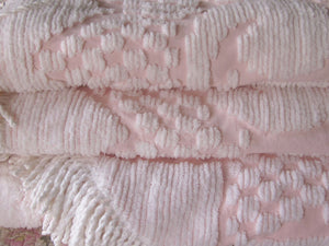 "Vintage Chenille Bedspread, Cotton, Classic Pink and White, Excellent Condition, 105"" l . x 96"" w."