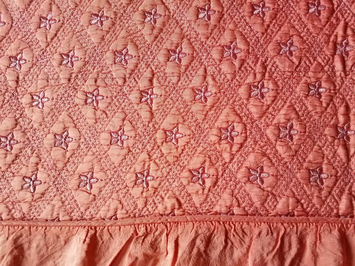 Vintage Bedspread, Pink Quilted Satin with Blossoms, Twin, 91