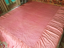 "Vintage Bedspread, Pink Quilted Satin with Blossoms, Twin, 91""w. x 99""l."