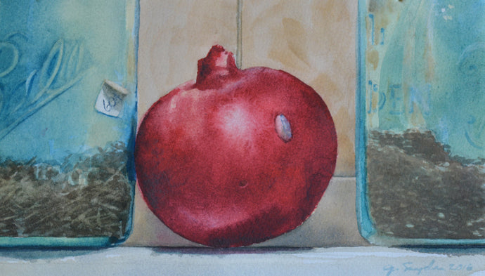 Watercolor Still Life, Original Painting, Study of a Pomegranate, 6.5