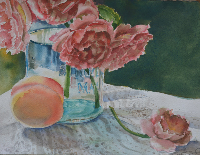 Still Life with Roses and Peach, Original Watercolor, 11