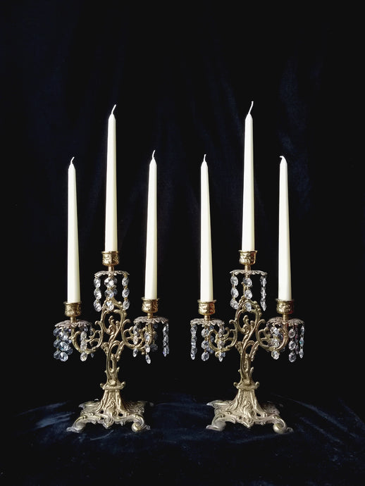 Antique Candelabra Set, Brass and Crystal Art Nouveau