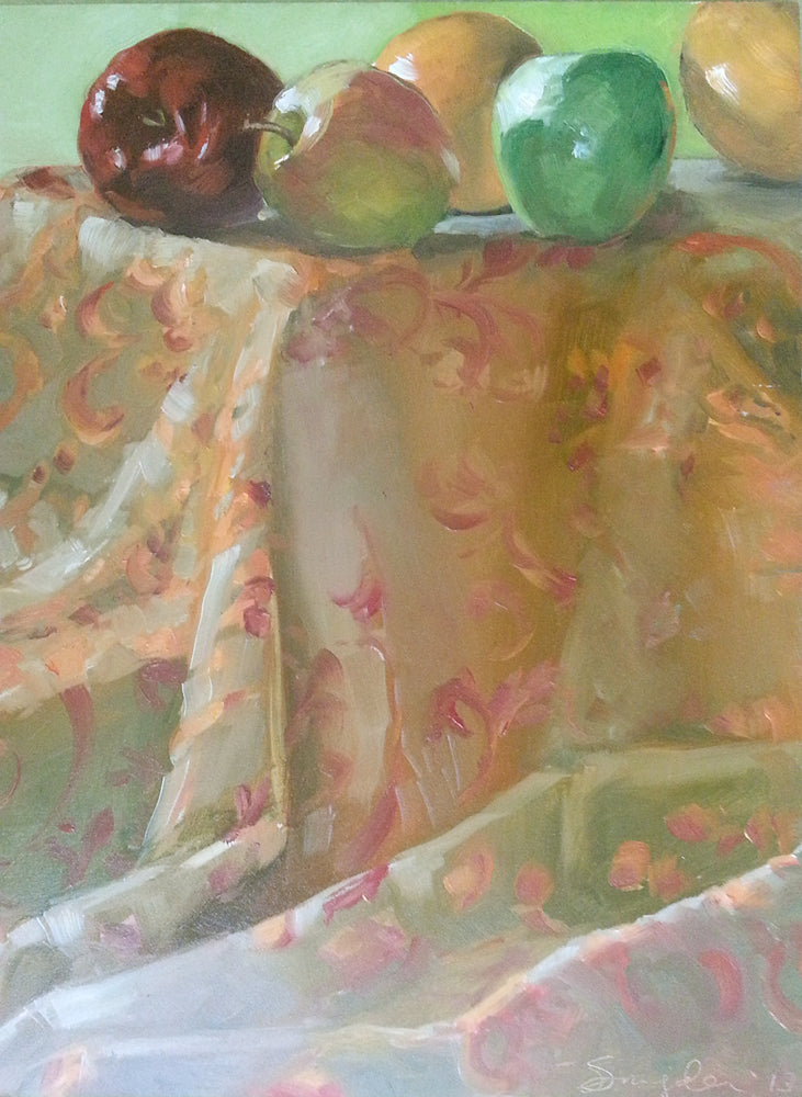 Still Life with Apples and Brocade, Original Oil on Panel, 11