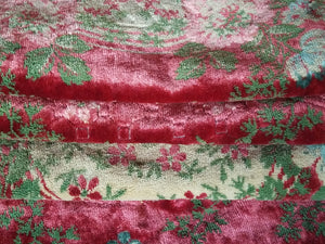 "Vintage Italian Tablecloth, Light Merlot Cut Velour or Velvet with Cashmere Trim, 60""w. x 86""l."