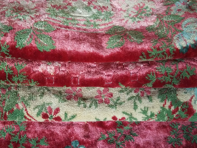 Vintage Italian Tablecloth, Light Merlot Cut Velour or Velvet with Cashmere Trim, 60