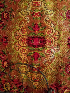 "Vintage Printed Velvet Table Cover or Wall Hanging, Ukrainian, 76""l. x 51""w. with 3"" Fringe"