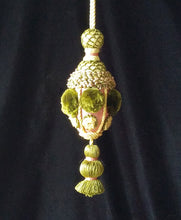 "Designer Decorative Tassel, Pink and Green, 8""l. x 3""w. with 4"" loop"