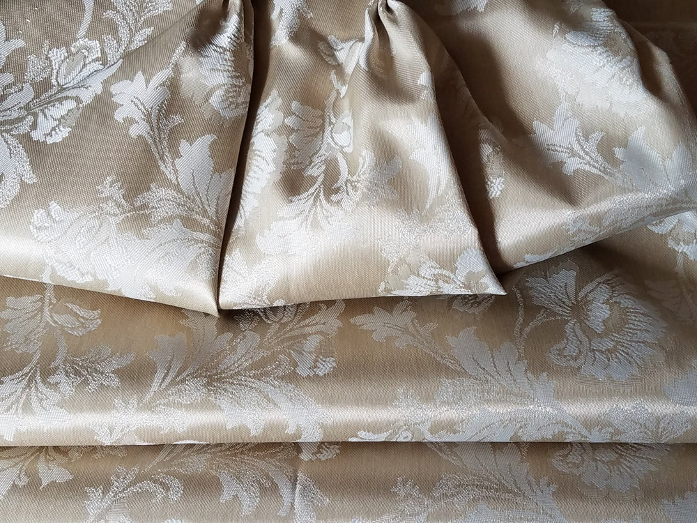Vintage Blackout Curtains, Satin Brocade Taupe and Ivory, Short, 22