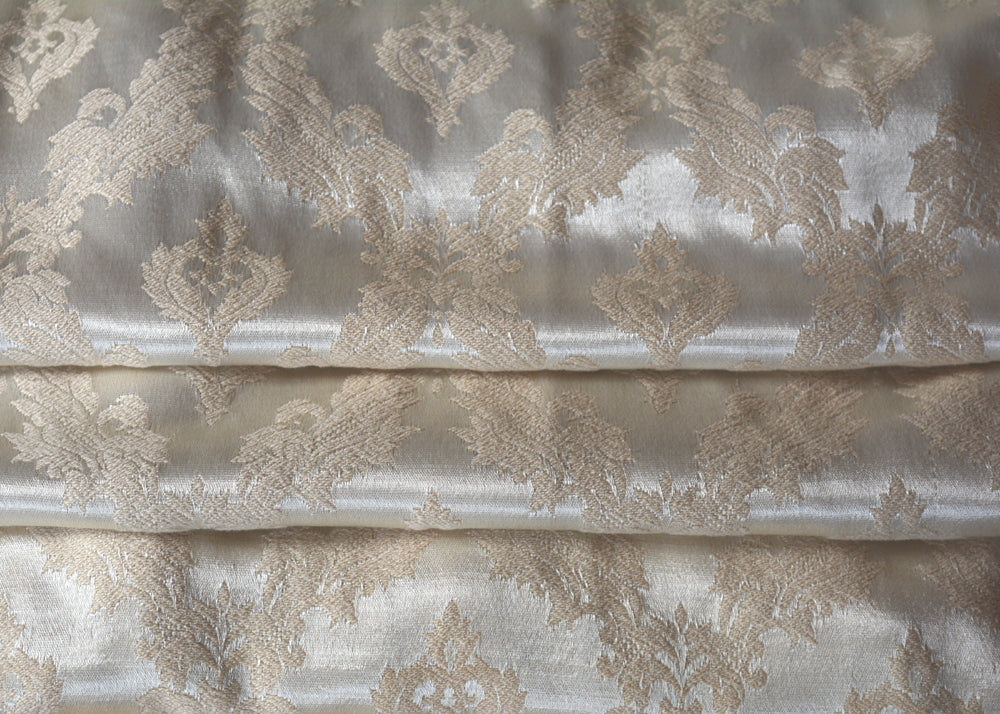 Vintage Curtains, Satin Brocade Taupe on Champagne, Long, 24