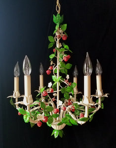 "Italian Tole Chandelier, Rare Antique Strawberry Motif, 21""w. x 25""h."