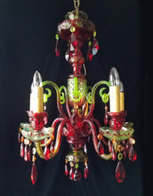 "Bohemian Crystal Chandelier, Vaseline Green and Pomegranate,  24"" w. x 30""h."